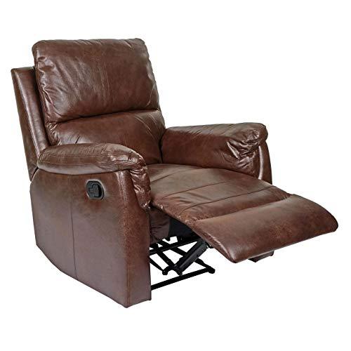 Mendler Fernsehsessel HWC-E67, Relaxsessel Liege Sessel - Stoff/Textil Wildlederimitat braun