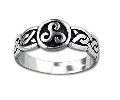 Ring keltische Triskele Dreierwirbel Peitschenrad 925 Sterling Silber (52 (16.6))