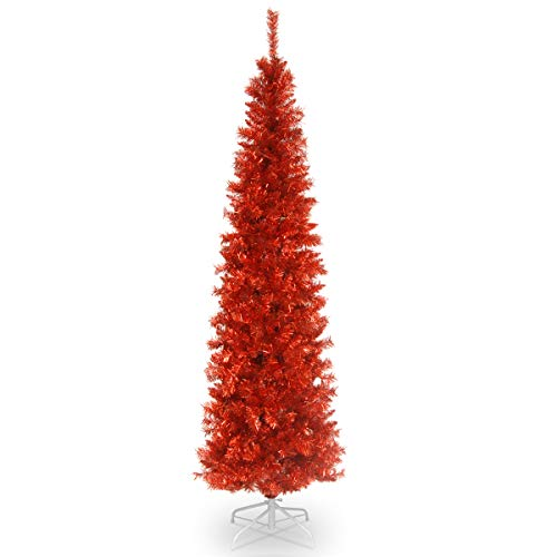 National Tree Company Artificial Christmas Tree | Includes Stand | Red Tinsel - 6 ft