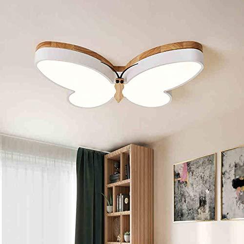Moderna Luces de Dormitorio LED Regulable de 16W, Lámpara de Techo de Mariposa Blanca con Decoración de Madera, Luz de Techo de Metal Contiene Control Remoto, Lámpara del Soggiorno L50cm