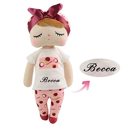 TedYoho Personalized Rag Dolls for Girls Custom Name on Fruit T-ShirtPlush Stuffed Angela Toy for Baby Girl with Gift Box 14 Inches (Mangosteen Red)