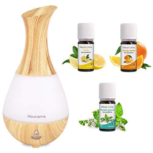 Coffret Cadeau Diffuseur Brumisateur + 3 x 10 ml Huiles Essentielles BIO distillées en FRANCE Citron, Menthe Poivrée, Orange Douce + Guide d'Aromathérapie - HEBBD - HECT - Mearome