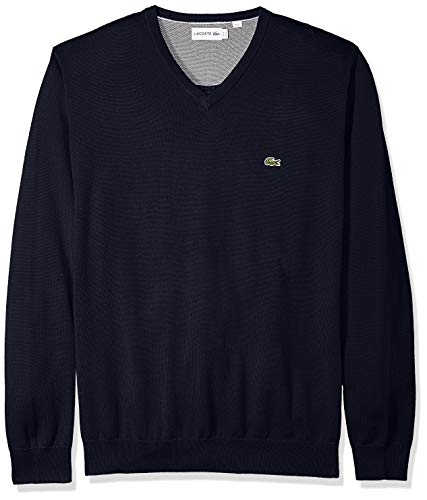 Lacoste Men's Long Sleeve Half Moon V Neck Jersey Sweater, Flour/Navy Blue, XXX-Large