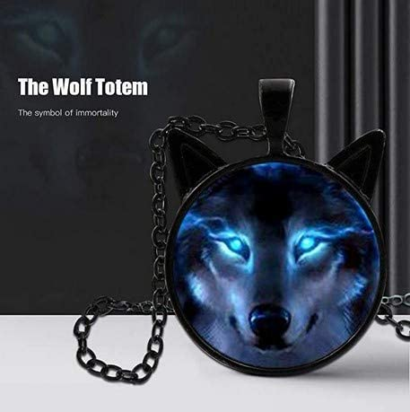 bestchoice000 Wolf Head Pendant,Unisex Wolf Necklace Cabochon Long Chain Glowing Eyes Car Wolf Pendant Charm