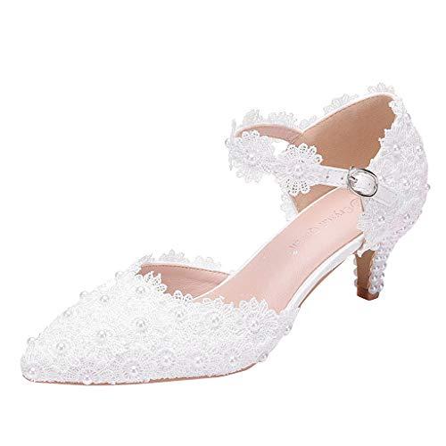 Frashing Damen Pumps Schuhe Slingpumps Mit Perle Und Weißer Spitze Elegante High Heels Schnalle Knöchelriemen Hausschuhe Elegante Weiße Braut High Heel Frau Tanzschuhe Ballerinas
