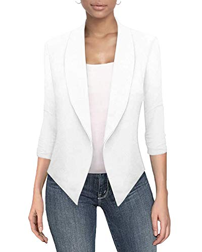 Auxo Donna Blazer Elegante Manica Lunga Tinta Unita Slim Fit Casual Giacche da Abito Gilet 03-Bianca L