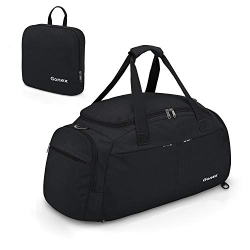 Gonex 40L Foldable Travel Backpack Convertible Duffel Bag Large Weekender Bag with Shoe Compartment Removable Shoulder Strap for Travel Gym Hiking Camping Outdoor Black