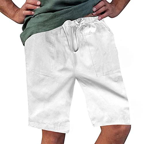 Rela Bota Men's Fashion Cotton Linen Athletic Shorts Solid Color Beach Lightweight Elastic Waist Yoga Pants Solid White L