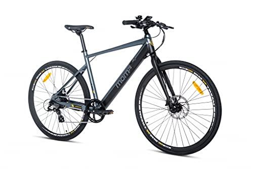 Moma bikes E-ROAD, Equipped Full Shimano, Frenos de disco Hidráulicos, Batería Litio SAMSUNG integrada y extraíble de 36V 10Ah