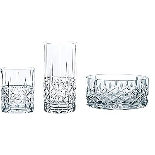 Spiegelau & Nachtmann, 12-teiliges Bargläser-Set, Je 6 Whisky- und Londrink-Gläser, Kristallglas, 445/345 ml, Highland, 100719 & 2-teiliges Schalen-Set, Kristallglas, Ø 11 cm, Noblesse, 0096060-0