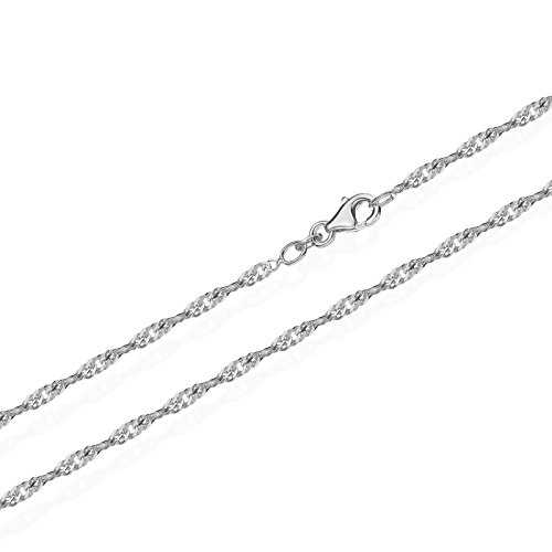 NKlaus echte 925er Sterlingsilber Silber Singapur Kette gedreht 45cm 1,50mm 2,2gr 5676