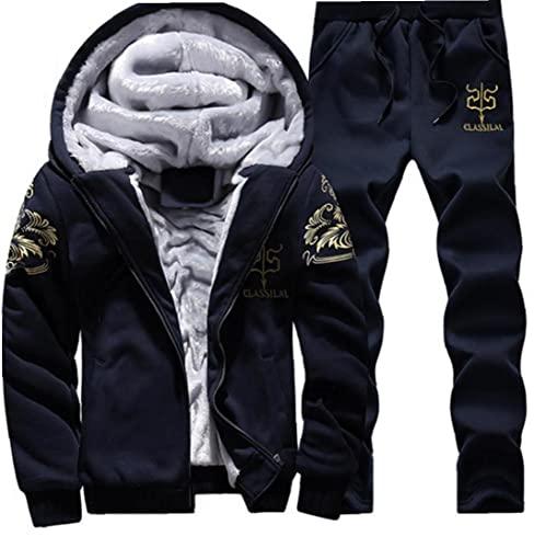 Hombres Sportswear Traje Tacksuit Hoodie Sudaderas Sudaderas Pantalones Fleece Grueso Azul Marino XL 2PCS