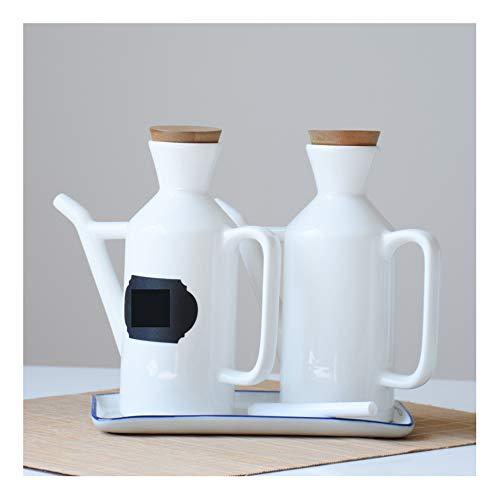 Juego de dispensador de botellas de vinagre de aceite de cerámica para cocina, 280 ml, blanco puro con boquilla de verter tapa de botella de madera a prueba de polvo KSGH-White-2 set