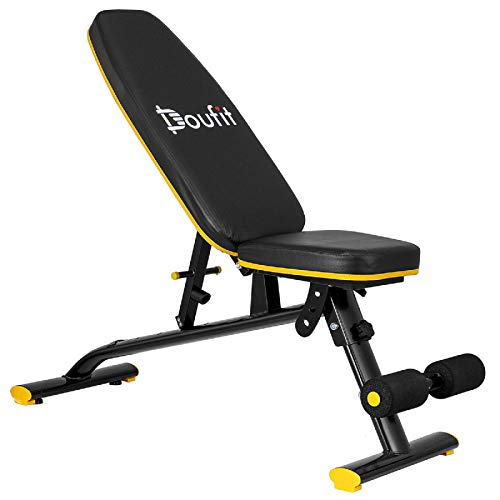 Weight Bench Adjustable Foldable, Doufit Heavy Duty Assembled Workout Bench Press for Home Gym, Indoor Multi-Purpose Exercise Incline Decline Bench for Weight Lifting Training