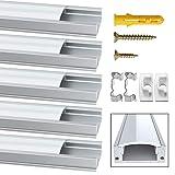 Jirvyuk LED Profilo in Alluminio Per Luci LED Strip con copertina bianca Lattea ,Tappi Terminali e Clip di Fissaggio in Metallo (Argento) (Argento-02)