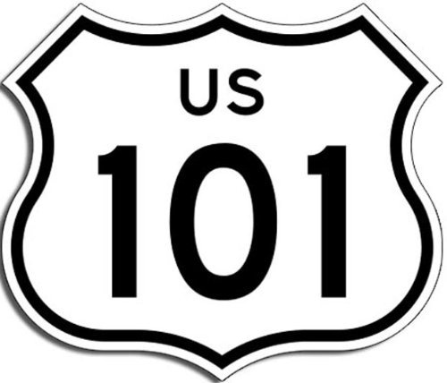 LPF USA Magnet US Highway 101 Sign Shaped Magnetic Sticker (California Hollywood Freeway)