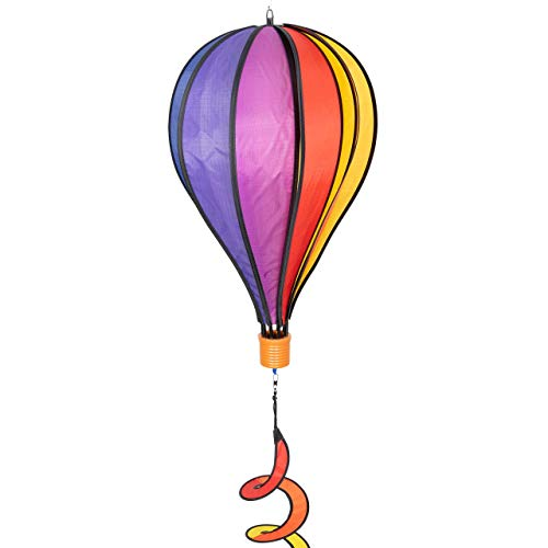 CIM Windspiel - Heißluftballon Twist Rainbow - wetterbeständig - Ballon:Ø28cm x 48cm, Korb: 4.5cm x 4cm, Spirale: Ø10 cm x 75cm - kugelgelagerte Aufhängung - Geschenkidee