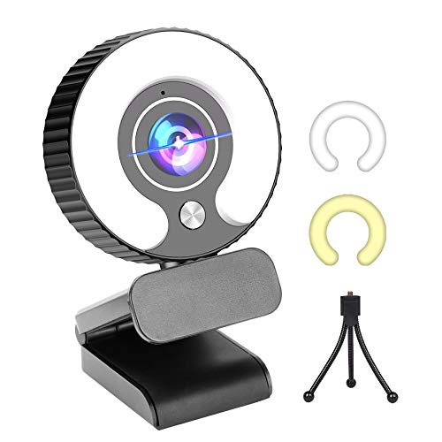 PIPHU Streaming Camera Streaming Webcam with Light HD 1080P Gaming Web Cam with Ring Light USB Webcams for Laptop, Desktop, Mac, PC, Monitor, MacBook Pro/air, Zoom, Computer, Xbox One, Windows 7/10