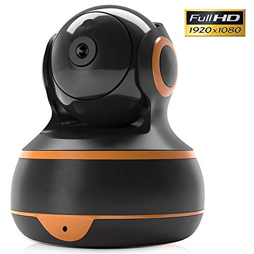 FullHD 1080p WiFi Home Security Camera Pan/Tilt/Zoom - Best Rated Smart App, Work with Alexa - Wireless IP Indoor Surveillance System - Night Vision, Remote Baby Monitor iOS (Black)