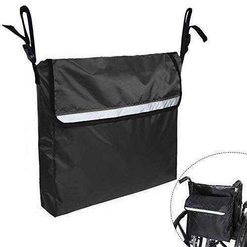 DURANTEY Rollstuhltasche Hinten Rollstuhl Rucksack Aufhängen Rollstuhlzubehör Große Rollatortasche Hohe Kapazität Schwarze Rollstuhl Zubehör Taschen mit Reflektierenden Streifen für Rollstuhlfahrer