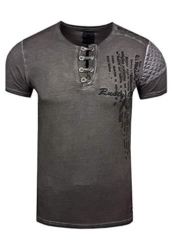 T-Shirt Rundhals Oil Wash Herren Kurzarm Shirt Verwaschen Stretch S - XXL 6784, Farbe:Anthrazit, Größe:S