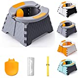 QILESUNNY 2021 New Folding Toilet, Portable Potty Training Seat for Toddler,Kids Travel Potty,Foldable Toilet Seat,It can Also be Used by Ladies in an Emergency. (Gray&Black)