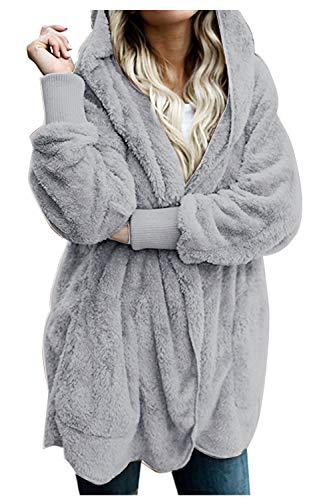Zilcremo Mujer Lana Chaqueta Cárdigan con Capucha Frente Abierto Abrigo Fleece de Piel Sintética Invierno Grey S