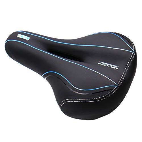 Comfortable Bike Seat-Wide Bike Saddle Seat with Dual Shock Absorbing Rubber Balls, Waterproof, Breathable, Universal Fit (Black Blue)
