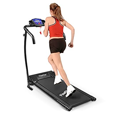 Finether Running Machines: Electric Motorized Treadmill Folding Running Jogging Walking Machine Portable Gym Equipment for Fitness and Home Exercise, 600W, 47.2''x23.6''x48.4'', Black/100KG Capacity by Finether