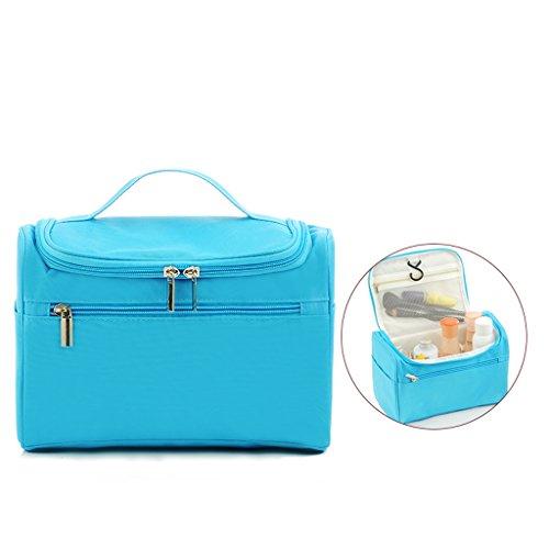 Sac cosmétique portable grande capacité sac de rangement multi-usages avec crochet simple trompette voyage sac de toilette portable à main (rouge),Blue
