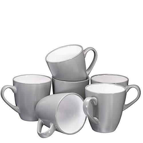 Coffee Mug Set Set of 6 Large-sized 16 Ounce Ceramic Coffee Mugs Restaurant Coffee Mugs By Bruntmor, Grey