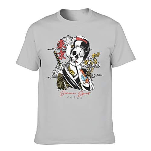 T-Shirt Japanischer Geisha Totenkopf Geist für Männer Europäischer Stil Muster mit komfortablem Gefühl Geschenk für Neujahr Gr. XXXXX-Large, Silbergrau