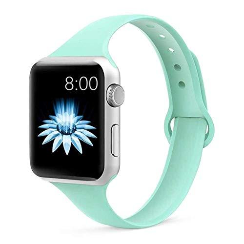 Correa de silicona delgada para Apple Watch Band 44 mm 40 mm Para Iwatch Band 42 mm 38 mm Accesorios Pulsera para Apple Watch Series 6 Se 5 4 3 44 mm-ámbar Verde 9,38 mm o 40 mm SM