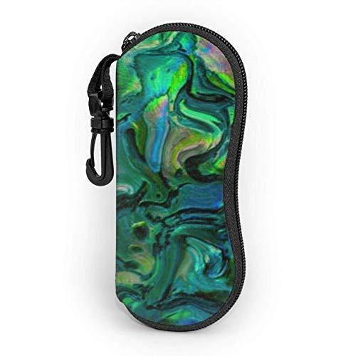 Abalone Nacre - Funda suave para gafas de sol para mujer y hombre, ultraligera y portátil, con mosquetón, color negro