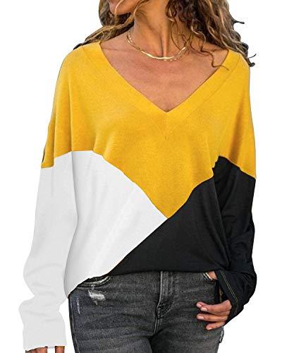 YOINS Donne Scollo A V Top Manica Lunga Color Block Design Casual Sciolto Camicetta Tunica Tunica Pullover A-giallo S