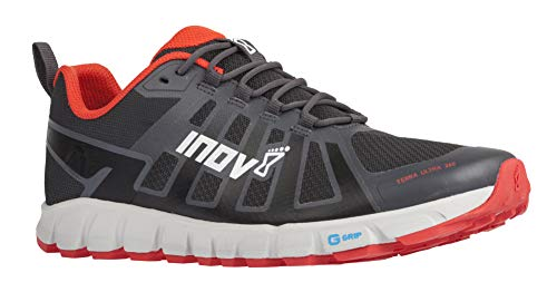 Inov-8 Mens Terraultra 260 | Minimalist Trail Running Shoe | Zero Drop | Perfect for Long Distance Ultra Running | Grey/Red M11/ W12.5
