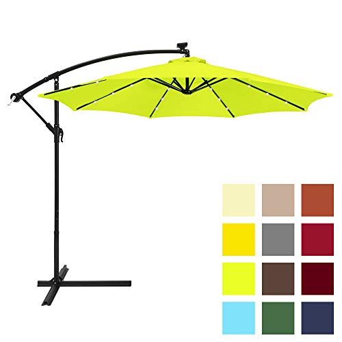 Best Choice Products 10-Foot Solar LED Offset Hanging Polyester Market Patio Umbrella w/Steel Frame and Easy Tilt Adjustment, Light Green