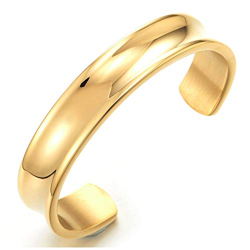 COOLSTEELANDBEYOND Klassiker Herren Damen Goldfarben Armband Armreif aus Edelstahl Rillendesign