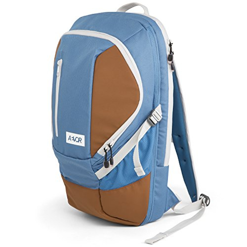 AEVOR Sportspack Sportrucksack für die Uni und Freizeit erweiterbar auf 26 Liter inklusive Laptopfach Blue Dawn - blaugrau, braun
