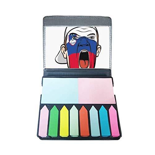 Slovenië Vlag Make-up Masker Schreeuwende Cap Zelf Stick Note Kleur Pagina Marker Doos