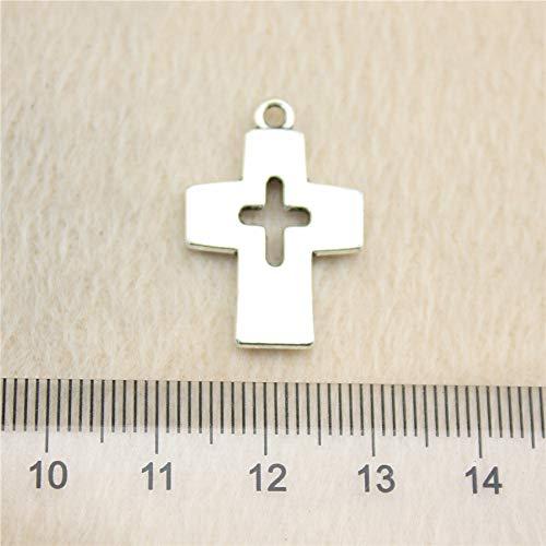 NEWME 30 Piezas 25x17mm Cruz Colgante de los encantos para la fabricación de Joyas de Bricolaje al por Mayor artesanía Hecha a Mano Pulsera Collar Llavero Accesorios del Bolso