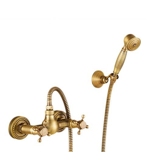 Kupfer Antik Kupfer Telefonhörer Wasser sparender, aufgeladener Handheld-Top-Spray-Regen, geschnitzter, Fester Sitz, heißer und kalter doppelter Mischventil-Niederschlagshahn