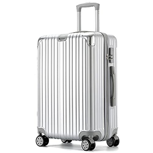 RUONING Maleta de viaje con 4 ruedas giratorias, color plateado ligero, 53 x 33 x 21 cm