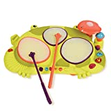 B. toys – Ribbit-tat-tat Light-Up Toy Drum – Interactive Drum with Animal Sounds