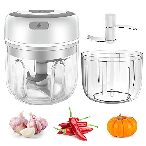 Wireless Electric Mini Garlic Chopper, 2 PCS Powerful Garlic Press Food Chopper, Portable Small Food Processor for Pepper Garlic Chili Vegetable Mincer/Grinder, 250&100ml, White
