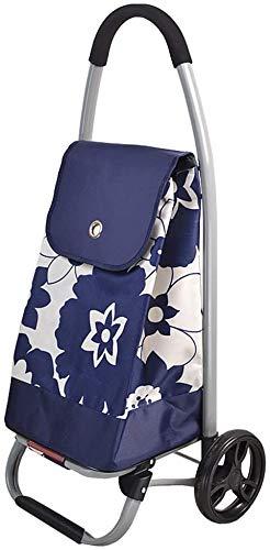 Carrito de compras Ligible Plegable Push Blue Azul Gran capacidad,Blue