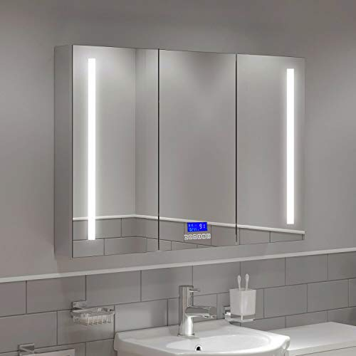 "MAVISEVER 42""W x 28""H LED Lighted Bathroom Medicine Cabinet with Digital Clock, Bluetooth, Temperature Display, Defogger & Self-Closing Hinges, Interior Outlet & USB Port, Wall Mounted, Three Doors"