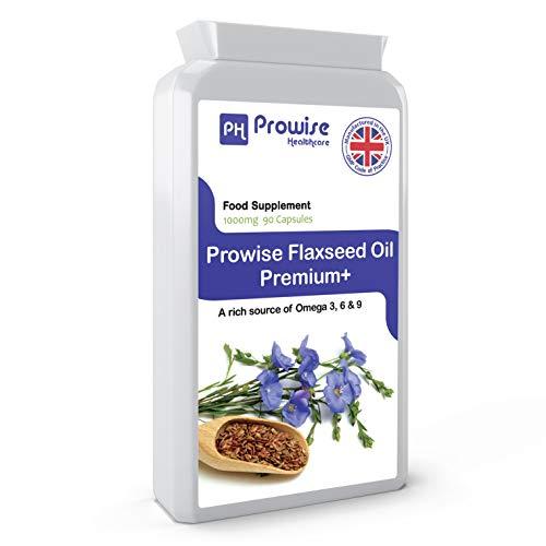 Olio di semi di lino 1000mg 90 Capsule - Potente fonte di oli essenziali di acidi grassi Omega - Prodotto nel Regno Unito | Standard GMP di Prowise Healthcare