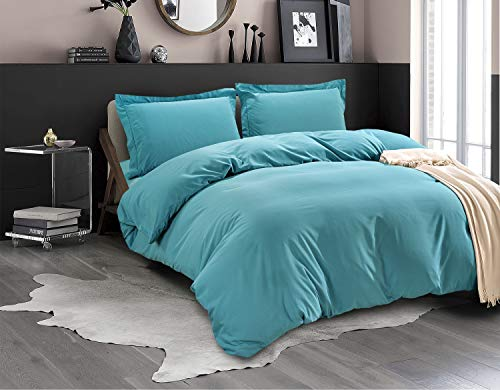 Elegant Comfort Luxury 3-Piece Duvet Cover Set -Ultra Soft 1500 Thread Count Egyptian Quality Hotel Collection - Comforter Cover with Button Closure and 2 Pillow Shams, King/California King, Turquoise