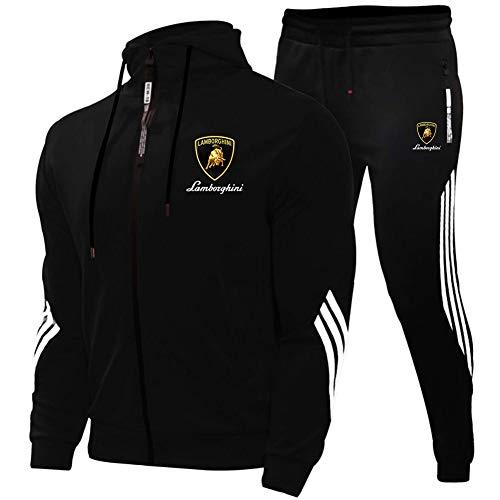 Woakzhe Herren Trainingsanzug Sets, Sportbekleidung Männer, Lam-BO.r-g.hi-NI Bedruckter Jogging Anzug, Klassischer Basketball Kapuzenjacke Hose (Black,XL)